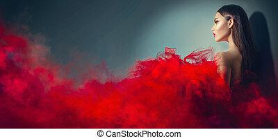 wspaniały, brunetka, wzór, kobieta, w, czerwony strój, przedstawianie, w, studio