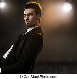 wspaniały, fason, styl, fotografia, od, na, elegancki, człowiek