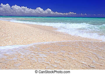wspaniały, plaża, krajobraz