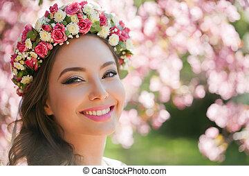 wspaniały, wiosna, makijaż, woman.