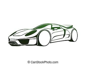 wspaniały, zielony, auto