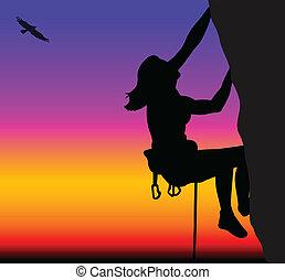 wspinaczkowy, kobieta, skała