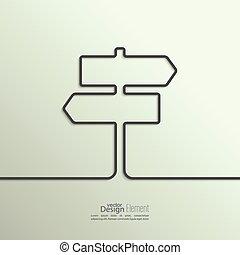 wstążka, przestrzeń, drogowskaz, kształt, text., cień