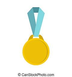 wstążka, styl, medal, okrągły, ikona, płaski