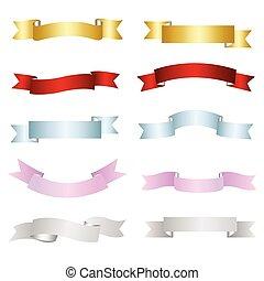 wstążka, wektor, barwny, elementy, komplet, projektować