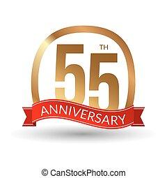 wstążka, złoty, 55, rocznica, przeżycie, etykieta, wektor, ilustracja, lata, czerwony
