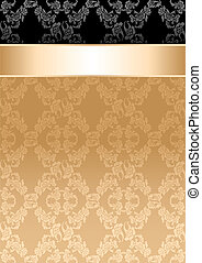 wstążka, złoty, próbka, seamless, tło, kwiatowy