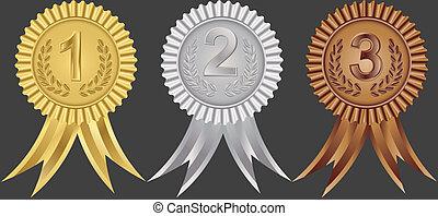 wstążki, drugi, pierwszy, nagroda
