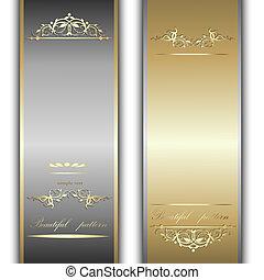 wstążki, srebro, złoty