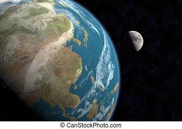 w/stars, &, asie, lune