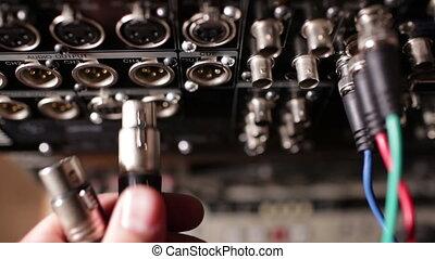 wstawiając, za, recorder., profesjonalny, dźwiękowy, liny,...