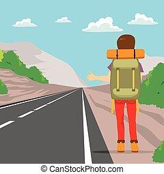 wstecz, hitchhiking, człowiek
