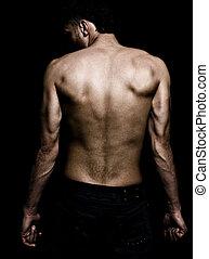 wstecz, muskularny, człowiek, wizerunek, grunge, artystyczny