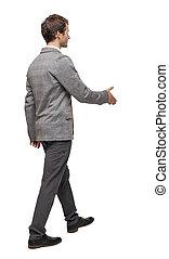 wstecz, pieszy, jego, handshake., napina, ręka, biznesmen, prospekt