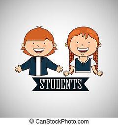 wstecz, szkoła, studenci, projektować