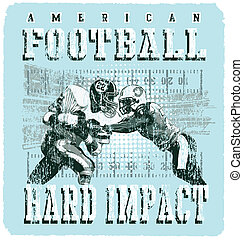 wstrząs, gracz, amerykańska piłka nożna