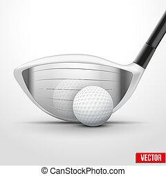 wstrząs, klub, chwila, piłka, golf