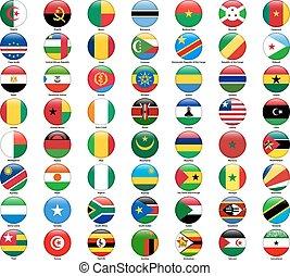 wszystko, komplet, styl, countries., bandery, połyskujący, afrykanin, okrągły
