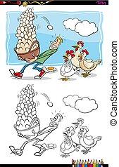 wszystko, kosz, jaja, książka, kolor, jeden