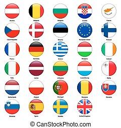 wszystko, kraje, styl, union., bandery, połyskujący, okrągły, europejczyk