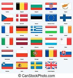 wszystko, kraje, union., bandery, połyskujący, style., prostokąt, europejczyk