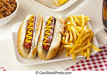 wszystko, organiczny, wołowina, hotdog