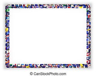 wszystko, usa., ułożyć, ilustracja, stany, bandery, brzeg, wstążka, 3d