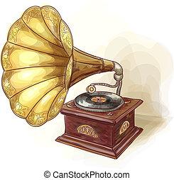 wtercolor, vindima, gramophone., imitation.