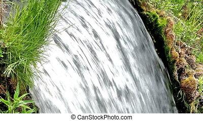 Wterfall - Beautiful veil cascading waterfall, mossy rocks