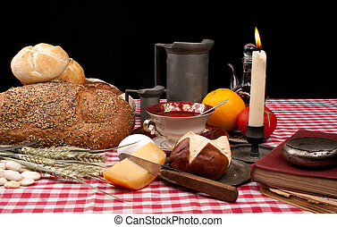 wtih, viejo, almuerzo, bollos, formado, bread