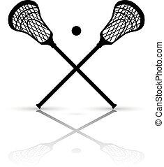 wtykać, krzyżowany, lacrosse piłka