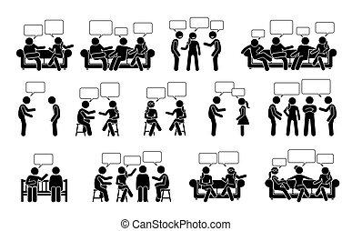 wtykać, ludzie, inny, icons., piktogram, figura, komunikacja, rozmowa, jeden