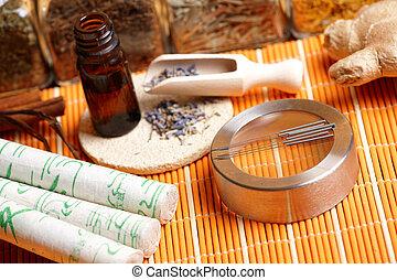 wtyka, akupunktura, lawenda, płatki, igły, moxa