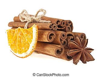 wtyka, anyż, odizolowany, pomarańcza, zasuszony, tło, biały, cynamon
