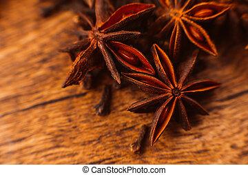 wtyka, anyż, tło, drewniany, gwiazda, cynamon