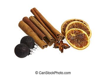 wtyka, gwiazda, kromki, anyż, cynamon, tło, pomarańcza, biały, zasuszony