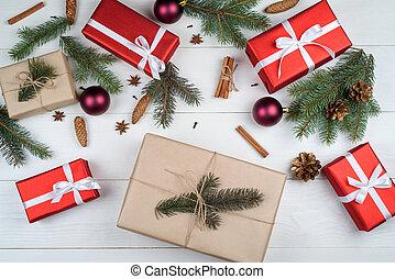 wtyka, jodła, karta, górny, anyż, sosna, tło, gwiazdy, biały, święto, boże narodzenie, płaski, space., wolny, tło, kopia, gałęzie, dar, drewniany, drzewo, powitanie, kabiny, cynamon, pieśń, stożki, prospekt