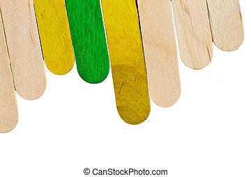 wtyka, wtyka, barwny, lód, drewno, lolly, śmietanka