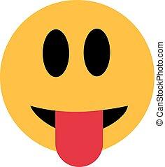 wtykając, język, smiley, poza
