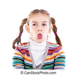 wtykając, sprytny, szczelnie-do góry, mały, język, dziewczyna, poza