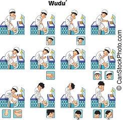 wudu, szertartásos mosdás, vagy, muzulmán, befejez, megtesz, idegenvezető, állhatatos, fiú, lábnyom
