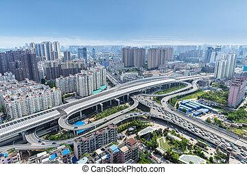 wuhan city interchange overpass