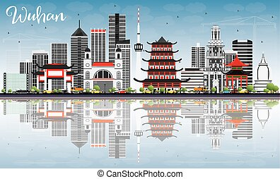 Wuhan Skyline with Gray Buildings, Blue Sky and Reflections.
