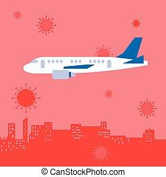 wuhan, vettore, aereo, città, paesaggio, coronavirus, virus...