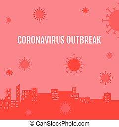wuhan, vettore, città, coronavirus, paesaggio, virus, ...