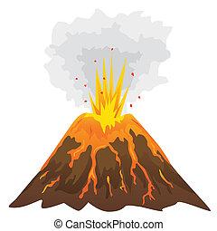 wulkan, białe tło, odizolowany, (vector)