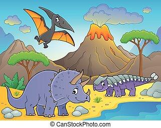 wulkan, dinozaury, wizerunek, 1