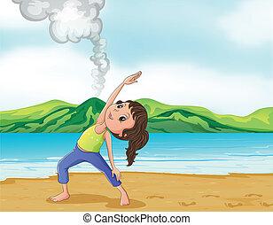 wulkan, dziewczyna wykonująca