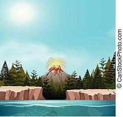 wulkan, krajobraz, natura