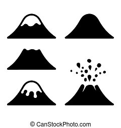 wulkan, set., wektor, ikony